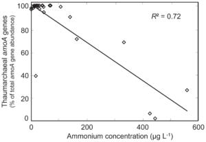 Concentrazione di ammonio negli acquari d'acqua dolce e relativa percentuale di geni amoA degli AOA.