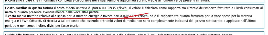 Costo al kWh
